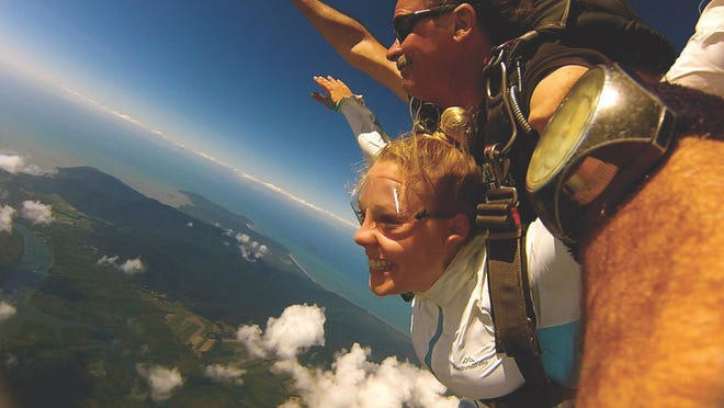 Meredith Keeley skydiving in Australia. (Courtesy of Meredith Keeley
