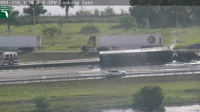 A tractor-trailer crash the morning of April 3, 2020, blocked both directions of Florida's Turnpike near Jupiter.
