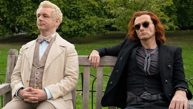 "Michael Sheen and David Tennant in the BBC miniseries ""Good Omens."""