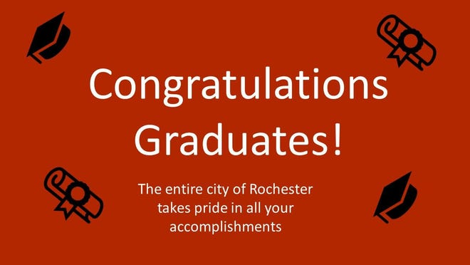 A message congratulating the Class of 2020 will be displayed, along with seniors' photos, on the City Hall digital display board. [Courtesy Photo City of Rochester}