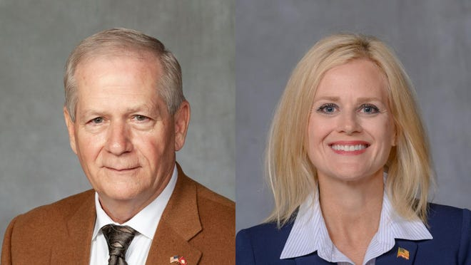 Mark Berry, a retired Air National Guard general from Booneville, faces Gwen Ford Faulkenberry of Ozark
