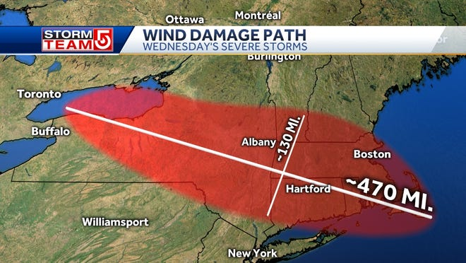 The rough area impacted by Wednesday, Oct. 7th's severe thunderstorm wind damage.