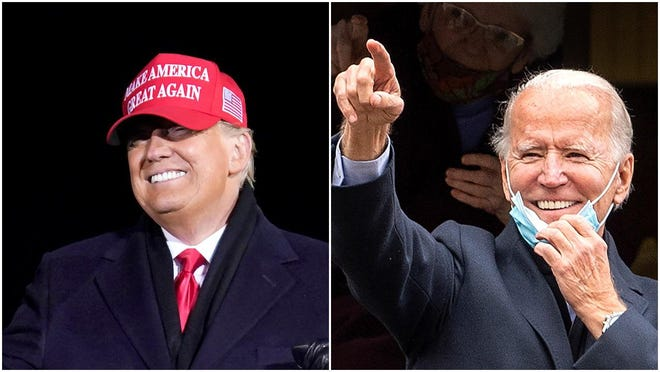 President Donald Trump, left, dances after a campaign rally at Gerald R. Ford International Airport early Tuesday in Grand Rapids, Mich., while Democratic presidential candidate Joe Biden gestures at his childhood home in Scranton, Pa., on Tuesday.