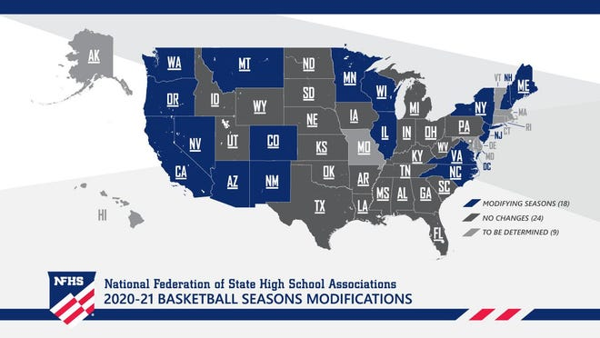 A look at the map of what states are doing across the nation in regards to high school basketball season. Illinois is one of 18 states that already has altered its plans.