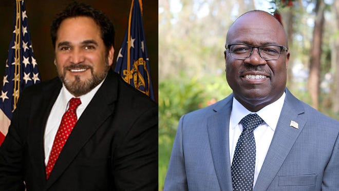 Chatham County Commission District 7 candidates Orlando Scott (right) and incumbent Dean Kicklighter.