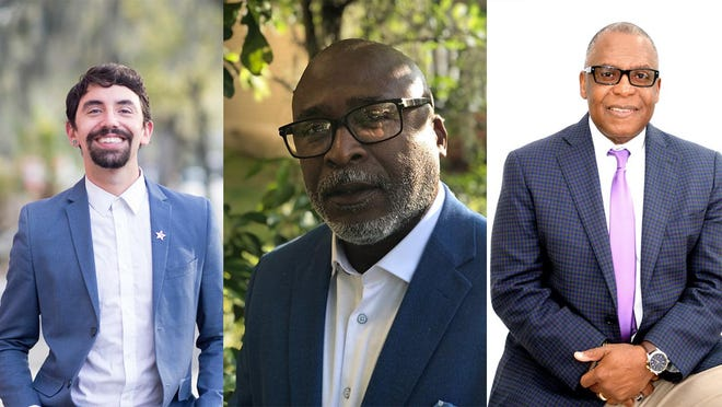 Democratic candidates for the Chatham County Commission District 2 seat, from left: Clinton Edminster, Michael J. Hamilton, Sr., and Tony B. Riley.