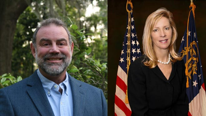 Chatham County Commission District 1 candidates Kevin Heyman (left) and incumbent Helen Stone (right).