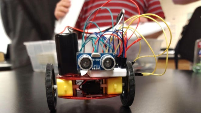 A Westminster Schools student built this little robot car to look at sensors and motion detection. This kind of hands-on learning will be advocated with Westminster's new robot league if they win one of the State Farm Neighborhood Assist grants.