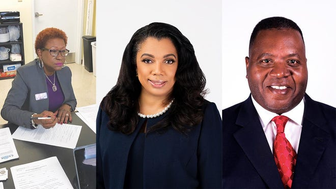 Democratic candidates for the Chatham County Commission's District 5 race, from left: Tanya Milton, Tabitha Odell, and Yusuf Shabazz.