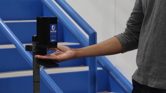 GP Reeves has designed a touchless hand sanitizer dispenser to help combat the COVID-19 pandemic.