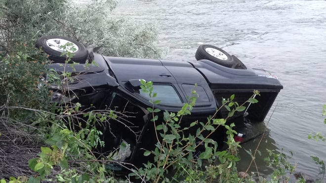 Great Falls Fire/Rescue cut out the windshield to reach a man who crashed into the Missouri River on the west side Friday.