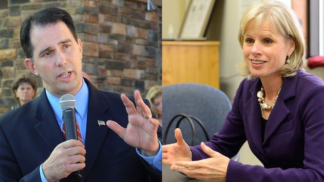 Republican Gov. Scott Walker and Democratic challenger Mary Burke.