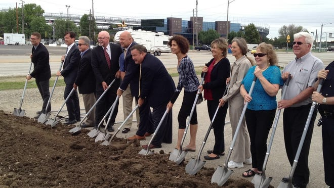 Speedway town officials Monday break ground on a roundabout to be built at 16th Street and Crawfordsville Road