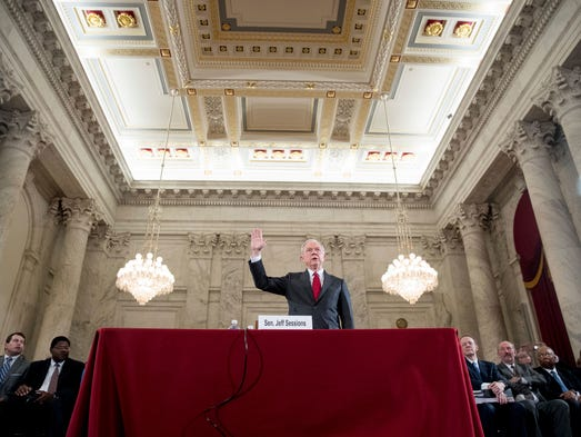 Sessions is sworn in on Capitol Hill on Jan. 10, 2017,
