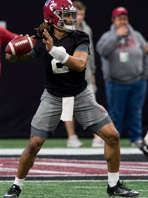 Alabama quarterback Jalen Hurts (2) during an Alabama practice for the College Football Playoff National Championship Game in Atlanta, Ga., on Saturday January 6, 2018.