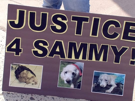A sign outside the Brick Township municipal court in June 2013 when the Morgans, who were charged with leaving Sammy, a 15-year-old cocker spaniel in a trash bag in Monmouth County, had a brief hearing.