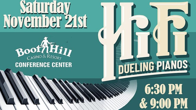 Hi Fi Dueling Pianos is set to perform on Saturday, Nov. 21, at Boot Hill Casino & Resort Conference Center. Tickets will go on sale at 10 a.m. Wednesday, Oct. 21, and can be purchased by calling the United Wireless Arena box office at 620-371-7880 or online through the United Wireless Arena website, www.UnitedWirelessArena.com, or through Ticketmaster.com.