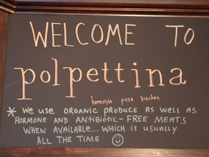 A welcome sign at Polpettina Homestyle Pizza Kitchen at 102 Fisher Avenue in Eastchester, Feb. 14, 2012.