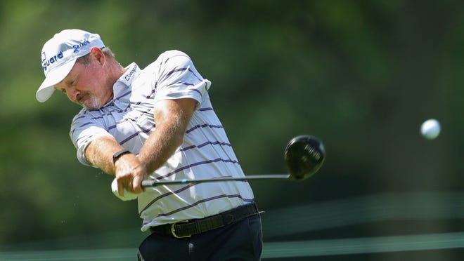 Jerry Kelly drives his ball down the No. 9 fairway during the second round of the 2020 Bridgestone Senior Players Championship at Firestone Country Club, Friday, Aug. 14, 2020, in Akron, Ohio.