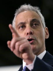 In this Nov. 24, 2014 file photo, Chicago Mayor Rahm Emanuel speaks at a news conference in Chicago.
