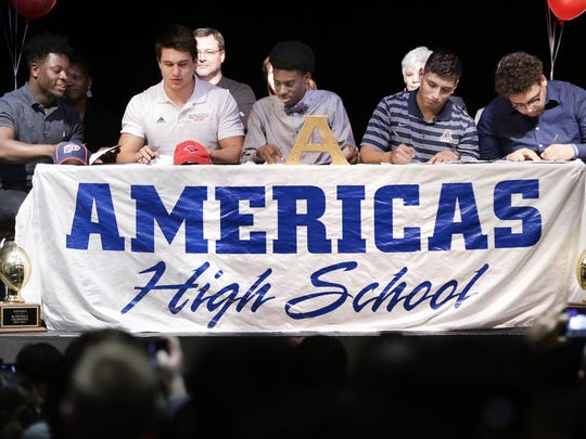 Americas High School had five seniors sign letters of intent Wednesday. Joshua Fields, left, signed with UTEP, Kolton Lindeman signed with Incarnate Word, Xavier Brooks signed with Lyons, Mike Munoz will be a prefered walk on at UTEP and Jesus Vasquez signed with Sul Ross.