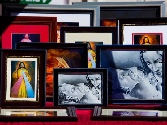 Religious paintings were among the items for sale at