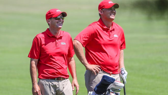 Ole Miss coach Chris Malloy (left) and sophomore Braden Thornberry are about to embark on an NCAA Regional in Austin, Texas.