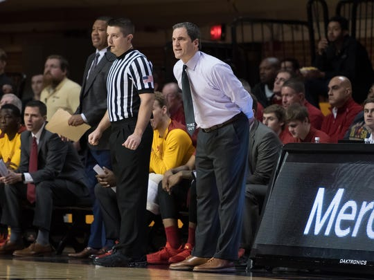Iowa State Cyclones head coach Steve Prohm reacts during the game against the Oklahoma State Cowboys during the first half at Gallagher-Iba Arena.