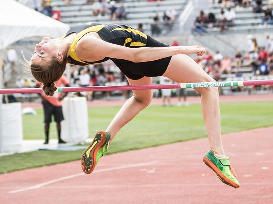 Colonel Crawford's Drew Krassow competed in the Division III girls high jump Friday at Jesse Owens Memorial Stadium in Columbus, Ohio.