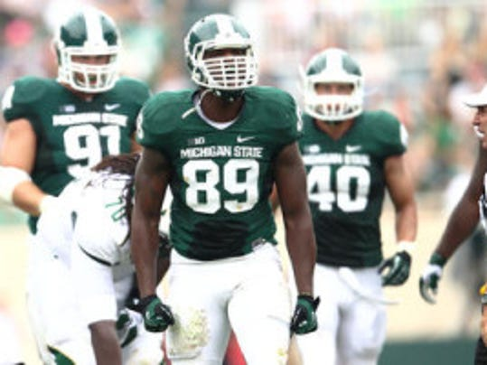 Michigan State defensive end Shilique Calhoun, a Middletown native, was picked as the Preseason Big Ten Defensive Player of the Year in a writers' poll run by Big Ten Network. (Rey Del Rio/Courtesy of Michigan State athletics communications)
