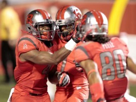 Rutgers wide receiver Leonte Carroo (4) celebrates a touchdown with teammates during the 2013 season-opener at Fresno State. (Cary Edmonson/USA Today Sports)