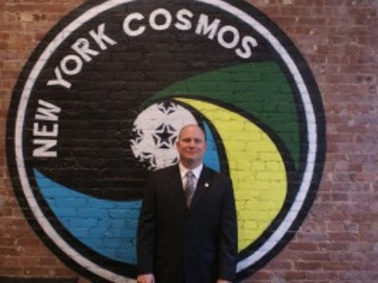 Erik Stover of Mountain Lakes poses in the New York Cosmos' downtown office. File photo by Jane Havsy/Daily Record