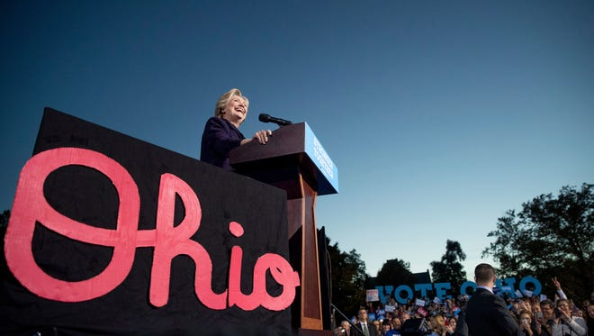 Democratic presidential candidate Hillary Clinton speaks at a rally Monday at Ohio State University in Columbus. Ohio starts voting Wednesday (AP Photo/Andrew Harnik)