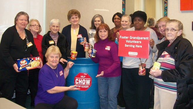 Foster Grandparents participate in food drives and volunteer for Community Hunger Outreach Warehouse.