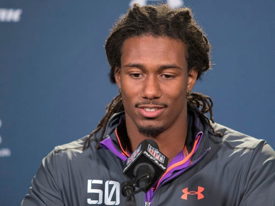 Feb 21, 2015; Indianapolis, IN, USA;  Michigan State defensive back Trae Waynes to the media at the 2015 NFL Combine at Lucas Oil Stadium. Mandatory Credit: Trevor Ruszkowski-USA TODAY Sports