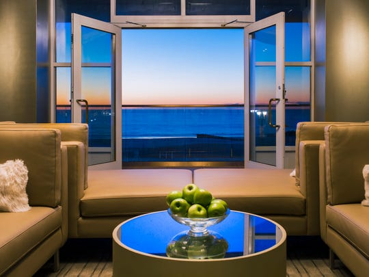 The relaxation room overlooks the Atlantic Ocean and boardwalk and is perfect for guests looking to relax in between spa treatments.