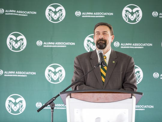 Colorado State University President Tony Frank speaks