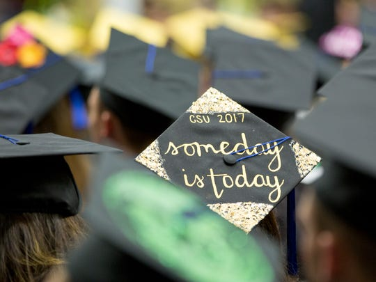 CSU College of Business graduate sends a hopeful message during the commencement ceremony Saturday, May 13, 2017 at Moby Arena.