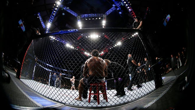 Rafael Natal in his corner before his fight against Tim Boetsch during UFC 205 at Madison Square Garden.
