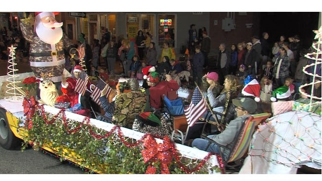 """Louis Barber's """"Santa's Express"""" captured first place in the float competition at Millville's Holiday Parade."""