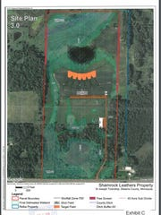 The site plan for a proposed trap-shooting range in