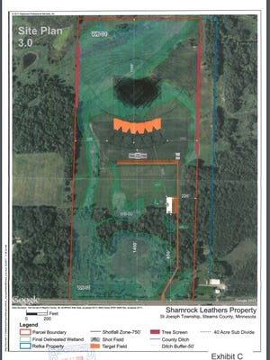 The former site plan for a proposed trap-shooting range in St. Joseph township that didn't receive a needed permit from the Stearns County Board in late June.