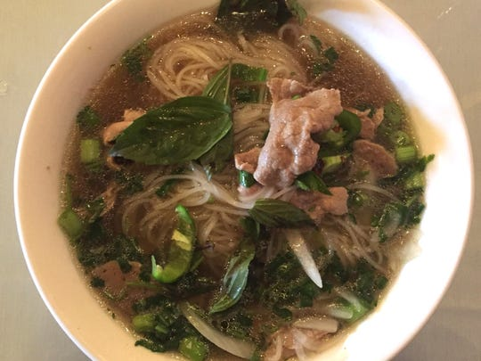 A bowl of No. 3 pho (rare steak and meatball) from SF Kitchen, a Mill Street restaurant that offers more than a dozen rice noodle, egg noodle or udon noodle soups.