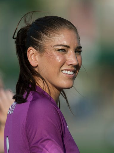 Seattle's goalie Hope Solo before the start of the game.