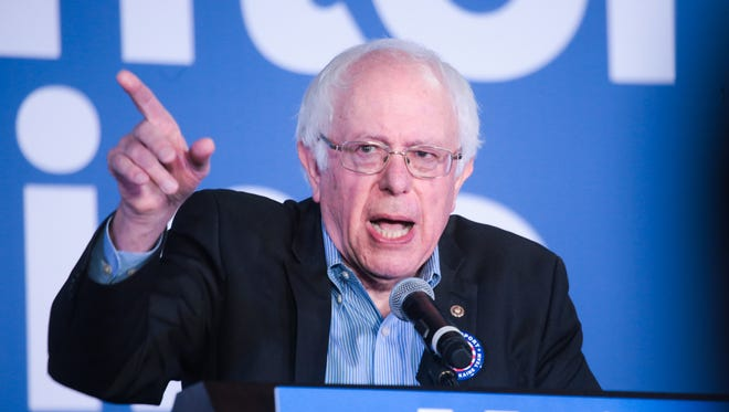Senator Bernie Sanders speaks to a crowd during the Dearborn Stronger Together Rally on Thursday October 6, 2016 at the UAW Local 600 in Dearborn. Sanders campaigned for Democratic presidential candidate Hillary Clinton during the first of a four city tour in Michigan on Thursday.