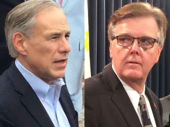 Gov. Greg Abbott, left, and Lt. Gov. Dan Patrick