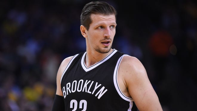 Brooklyn Nets forward Mirza Teletovic looks on during the second quarter against the Golden State Warriors at Oracle Arena. The Warriors defeated the Nets 107-99.