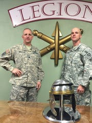 Lt. Col. Tony Behrens, left, and Maj. Mike Kramer talk