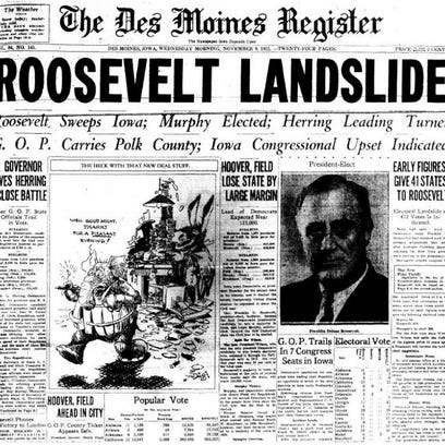 1932: Democrat Franklin D. Roosevelt defeats Republican incumbent Herbert Hoover.
