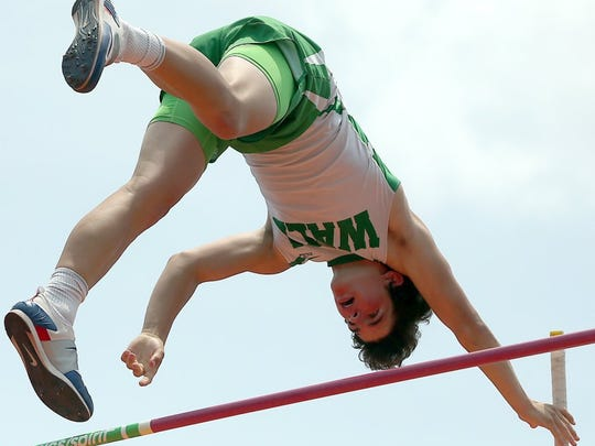 Garrett Stephens of Wall competes in the Class 3A boys pole vault at the UIL State Track and Field Championships in 2016. He was a sophomore.